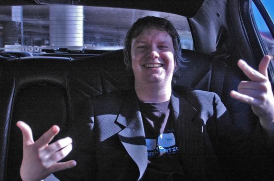 Ian Fondue in a limo, SF