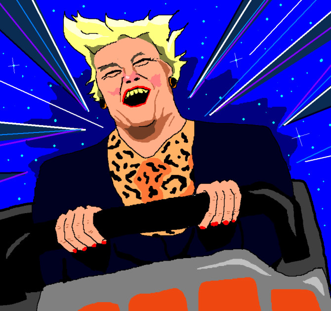 Jim'll Paint It - Ann Widdecombe riding Space Mountain.