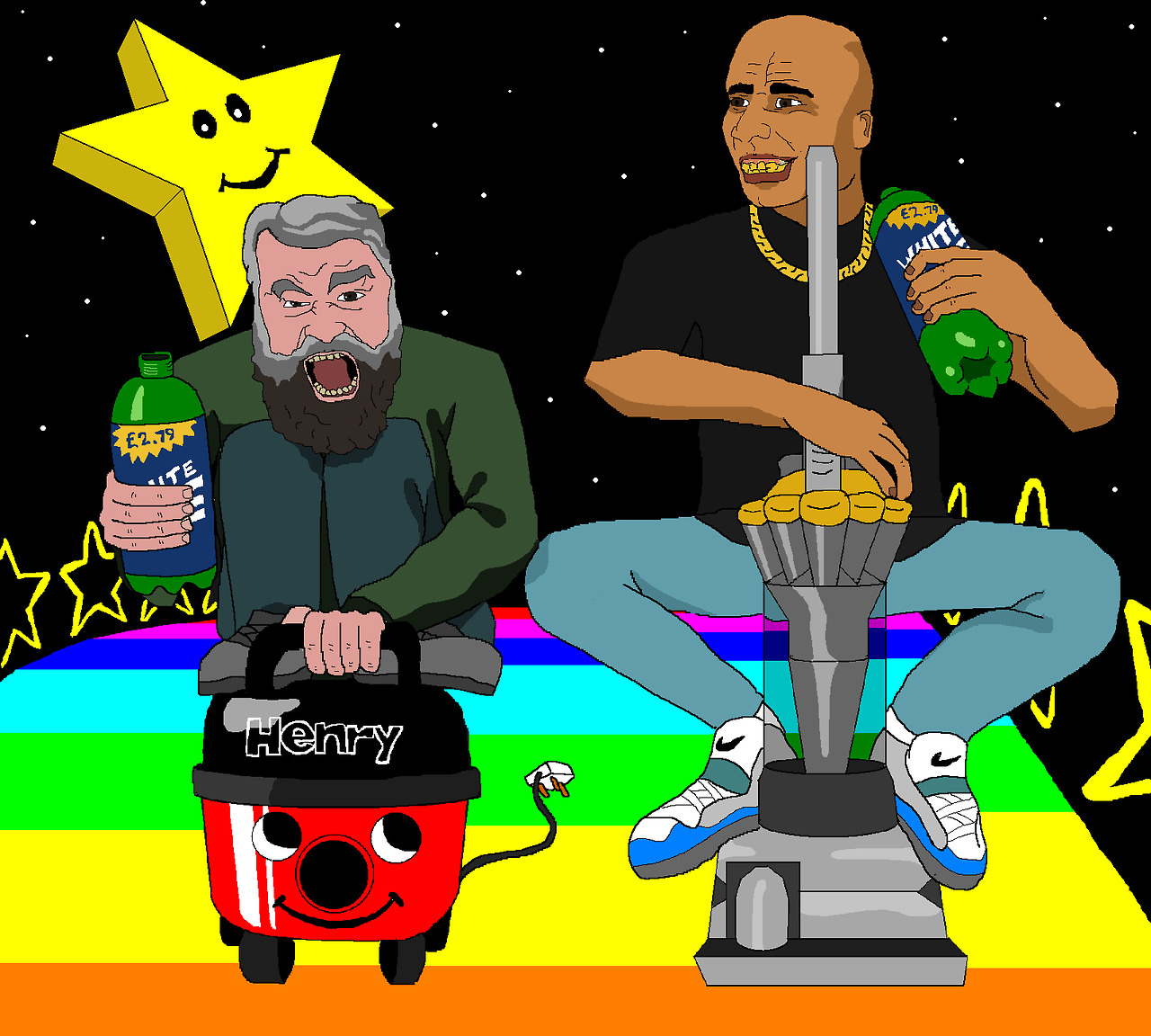 Jim'll Paint It - Brian Blessed riding a Henry hoover alongside D'n'B DJ Goldie on a Dyson.