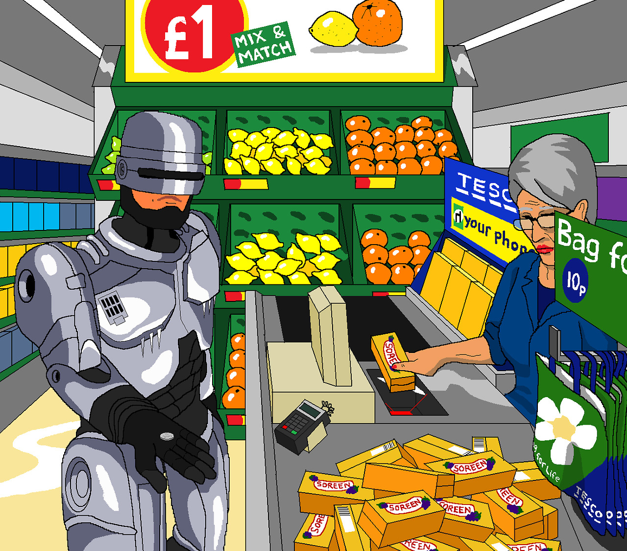 Jim'll Paint it - Robocop at the checkout in Tesco