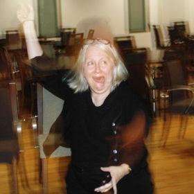 Linda Mills dancing at PodCamp